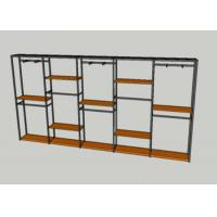 Quality Metal Tube Wooden Shelf Garment Display Stands For Chain Stores Easy Assembly for sale