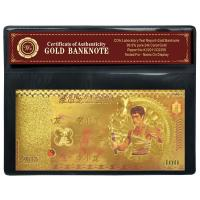 Quality Gorgeous Nice Copy Bruce Lee 100 Gold Banknote Collect With Plastic Bag for sale