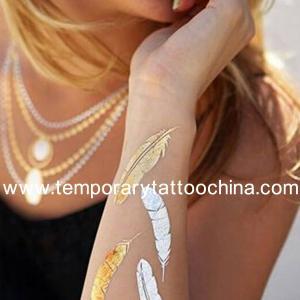 Quality 2015 Trend glow in the dark tattoo sticker metallic flash foil gold temporary tattoos for sale