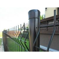 Black 3D security fences are connected with a black round post by black clips.
