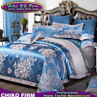 Quality 100% Cotton King Size Blue Flowers Jacquard Bedsheet Bedding Sets for sale