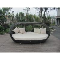 Quality UV Resistant Outdoor Rattan Daybed , Dark Brown Wicker Oval Bed for sale