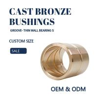 Quality Customzied Oil / Grease Groove Casting Bronze Sleeve & Flange Six To Eight Designs for Loaders for sale