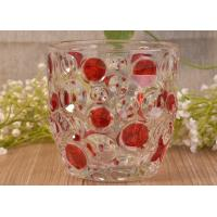Quality Home Decorative Glass Candle Holders  , Glass Candlestick Holders Hobnail Dots Emboss for sale