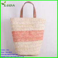 Quality Two colors curving matching corn husk straw bag with PU handle for sale