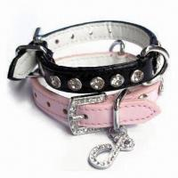 Quality Crystal PU Pet Dog Collar, Available in Various Sizes for sale