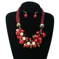Quality Christmas Gift White Bead Statement Jewelry Set Fashion Red Pearl Crystal necklace earring for sale