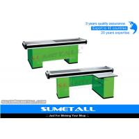 Quality Colorful Supermarket Cashier Checkout Counter With Strong Aluminum Alloy Border for sale