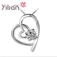 Quality Beautiful Heart Necklaces pendants with white gold plated TJ0006 for sale
