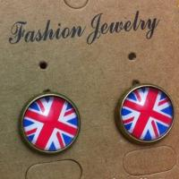 Quality Union Jack earrings round crystal ear studs TJ0117 for sale