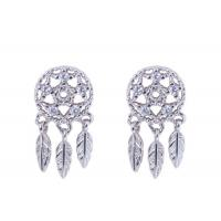 China S925 Silver Fairy Dream Catcher Earrings Female Forest Cold Wind Leaves Tassel Personality Stud Earrings on sale