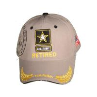 China Grey Cotton Twill Washed Military Baseball Caps With Five-Pointed Star Embroidery on sale