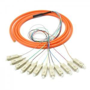 Quality Orange 12 core SC UPC optical fiber patch cord with CE , multimode fiber patch cord for sale