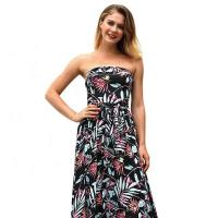 Buy cheap Summer Printed Sexy Ladies Casual Beach Dresses Chest Cake Long Dress from wholesalers
