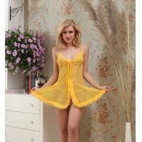 Quality Mesh Ladies Babydoll Lingerie with Lace Bra QH6052 Nail Bead Lace Furry Skirt Hem Babydoll for sale
