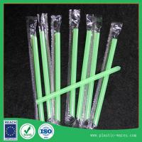 Disposable straight plastic drinking Straws for Juice beverage in green color