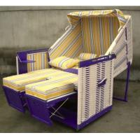 Quality Fir Wood And PE Rattan Roofed Beach Chair With 260g Terylele Fabric for sale