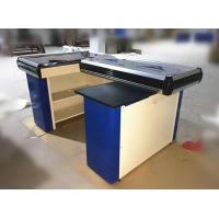 Quality Metal Steel Supermarket Cash Counter With Conveyor Belt / Cash Counter For Retail Store for sale