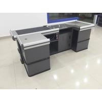 Quality Gray Conveyor Belt Checkout Counter for Supermarket Shop Automatic Retail for sale