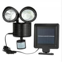Quality Activated dual head 22 LED security spotlight solar powered motion sensor night wall light for outdoor for sale