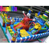 Quality Durable Happy Clown Island Inflatable Fun City Commercial Bouncers With Big Playground for sale