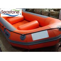 Quality Orange White Water Rafting Boat Heavy Duty D Ring Handles Unpowered 6 Seats for sale