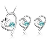 Quality Heart Crystal wedding jewelry sets 4 colors bridal jewelry set TJ0126 for sale