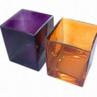 China Glass Vase with Modern and Fresh Style Design, Square Vase  on sale