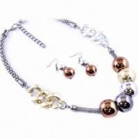China Fashionable Mesh Chain with Round Bead Necklace, Made of CCB and Metal on sale