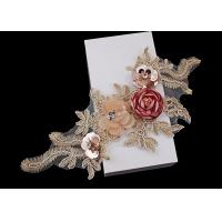 Quality 3D Flower Beaded Lace Embroidered Applique Patches Collar With Sequin Rhinestone for sale
