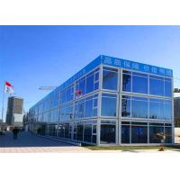 Quality Glass Curtain Modern Container House , Three Stories Shipping Container House for sale