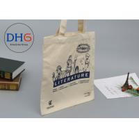 Quality Large Navy Natural Cotton Canvas Tote Bag Cross Stitching Handle Eco Friendly for sale