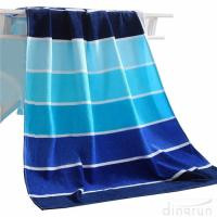 China 100% Cotton Soft Beach Towel Pool Towel Gradient Blue Striped Towel Bath Towel on sale