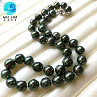 China Large south sea pearl 10-12mm round Tahitian Pearl necklace with s925 clasp clasp on sale