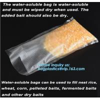 Quality custom made colored soft PVA water soluble plasticfishing lure packaging, Bait Bags forFishing, dissolved in water fish for sale
