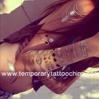 Quality Metallic Gold Silver Black Flash Temporary Tattoo for sale