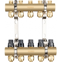 Quality 6111 Polished Brass Water Distribution Manifolds up to 12 Branches w/ Concealed Supply Flowrate Tuner & Dustproof Caps for sale