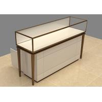 Easy Install Custom Glass Display Cases Beige Wooden Stainless Steel Frame