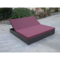 Quality Outdoor Rattan Material Chaise Lounge Daybed In Double,Cushion Cover With Adjustable Back for sale