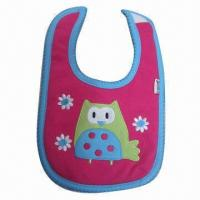 Quality Customized baby bib, embroidery logo, lacy merrow, phthalate-free for sale