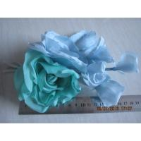 Quality Blue Green Headpieces Wedding Craft Silk Flower Heads For Hat / Fascinator / Bag for sale