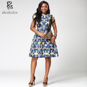 Quality Short sleeve African Print  Dress morden blue midi length V-neck 100% cotton for sale