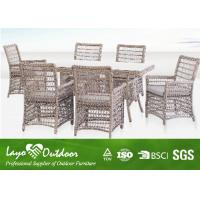 Wicker Garden Furniture 7 Piece Outdoor Patio Dining Set Europe Style Ajustable Size