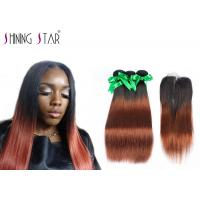 Buy cheap Long 8A Peruvian Hair Bundles With Closure Ombre Dark Roots Tangle Free from wholesalers