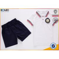 Quality Custom school uniform polo t shirts with stripe collar and cuff  for boys and girls for sale