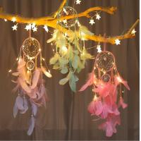 China popular handmade indian dream catcher feather with led light home decoration on sale