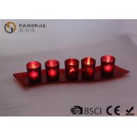 Buy Set Of 5 Red Glass Candle Holder With Glass Plate And LED Tealight at wholesale prices