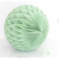 Quality Dusty Green Tissue Paper Honeycomb Balls Pom Poms With Satin Ribbon Loop for sale