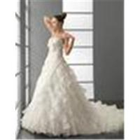 Quality Ball Gown Strapless Chapel Train Wedding Dressing Gowns / Bridal Gown with Beadings for sale