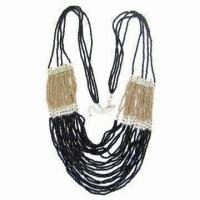 Quality Multi-rows Beaded Necklace, Comes in Black and Gold for sale